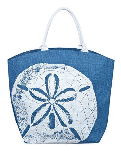 Two's Company Merites Shell Jute Beach Bag (Sand dollar)