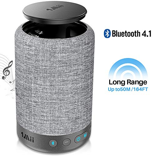 1Mii Long Range Bluetooth Speaker Wireless Speaker, Portable Speaker with Music Mode Vocal Mode, 10W 360 Music Speakers, Built-in 8000 mAh Power Bank, AUX-in, Black Model A1000 Grey