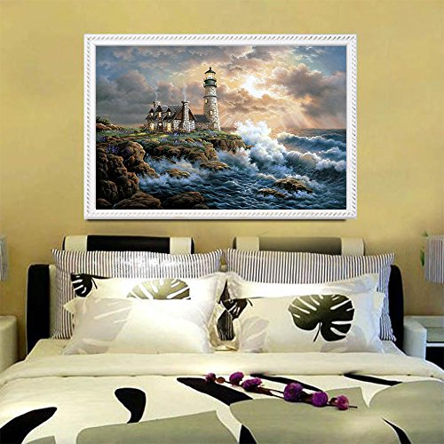 Blxecky 5d Diy Diamond Painting By Number Kits,lighthouse 14x18inch 35x45cm Buy
