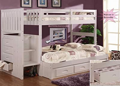 Discovery World Furniture White Staircase Bunk Bed Twin/Full (Stair Stepper) with Twin Trundle