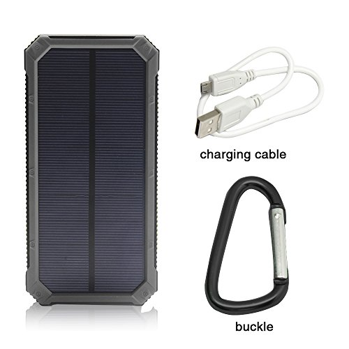 Solar Charger, Solar External Battery Pack, iBeek Portable 12000mAh Dual USB Solar Battery Charger Power Bank Phone Charger with Carabiner LED Lights for Emergency Cell Phones Tablet Camera (Black)