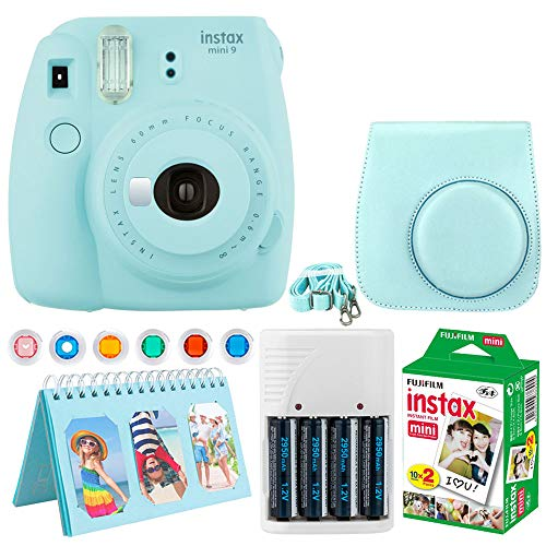 Fujifilm Instax Mini 9 Instant Camera (Ice Blue) + Fujifilm Instax Mini Twin Pack Instant Film (20 Exposures) + Camera Case + Scrapbooking Album + 4 AA Batteries & Charger + Colored Lens Filters