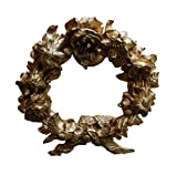 Hickory Manor House Floral Tieback Wreath, Antique Gold