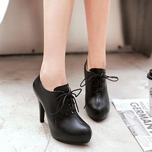 Carolbar Womens Lace-Up Fashion Platform High Heel Ankle Dress Boots Black h2PeMnv