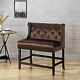 28 bar stools - Laraine Winged Tufted Velvet 2 Seater 28 inch Barstool, Peanut