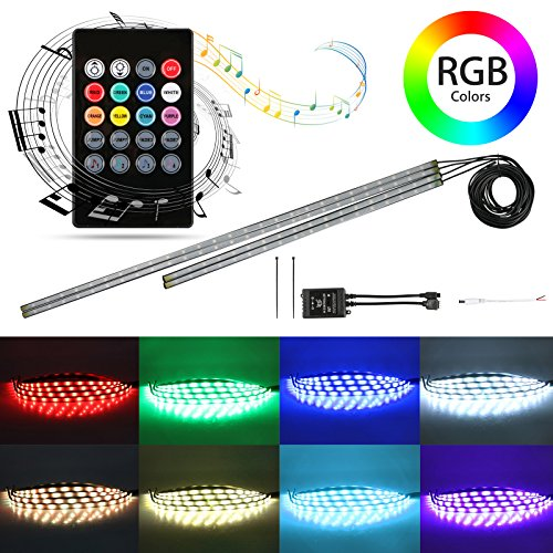 EEEKit 4Pcs Car LED Neon Undercar Glow Light Underglow Atmosphere Decorative Bar Lights Kit Strip 5050 SMD Underbody System Waterproof Tube 8 Color with Sound Active and Wireless Remote Control ()