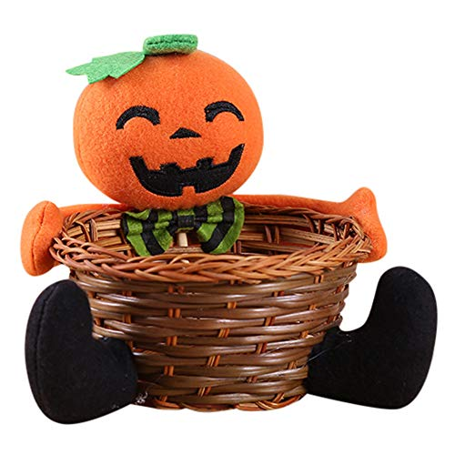 Dreamyth Doll Fruit Decoration Bowl Halloween Ghost Candy Basket 16cmx 21cm Home Decor Hand-Woven (Orange, 16cmx -