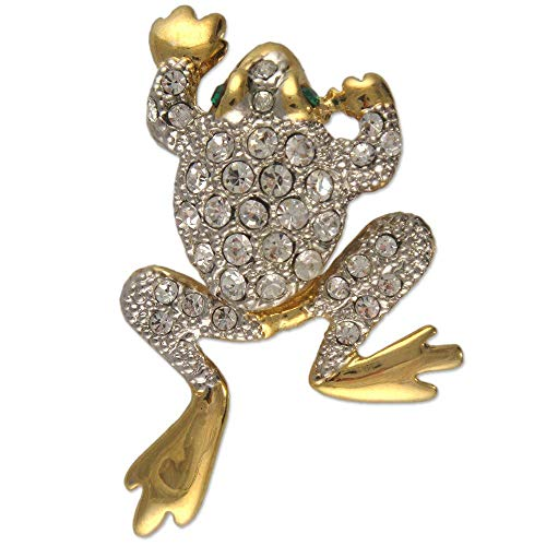 (MOVEABLE Crystal Rhinestone Frog Brooch Made with Swarovski Elements)
