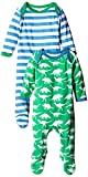Toby Tiger Organic Cotton Dino Sleepsuit Footie 2 Pack (6-12 Months)