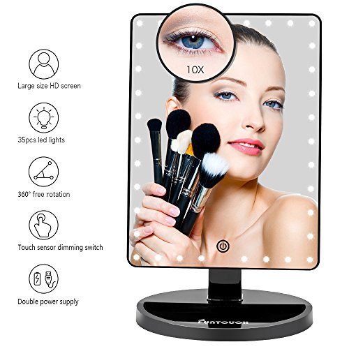 Large Lighted Vanity Makeup Mirror (X-Large Model), Funtouch Light Up Mirror with 35 LED Lights, Touch Screen and 10X Magnification Mirror, 360° Rotation Tabletop Cosmetic Mirror (Black) by FUNTOUCH