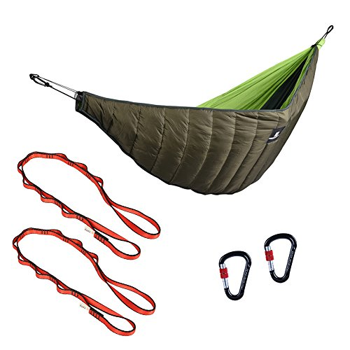 Baoblaze Lightweight Hammock Sleeping Bag Underquilt + 2 Keychain Carabiners + 2 Hammock Tree Straps 150cm by Baoblaze