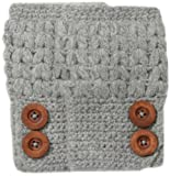 San Diego Hat Company Women's Knit Fingerless Glove with Wood Buttons, Grey, One Size