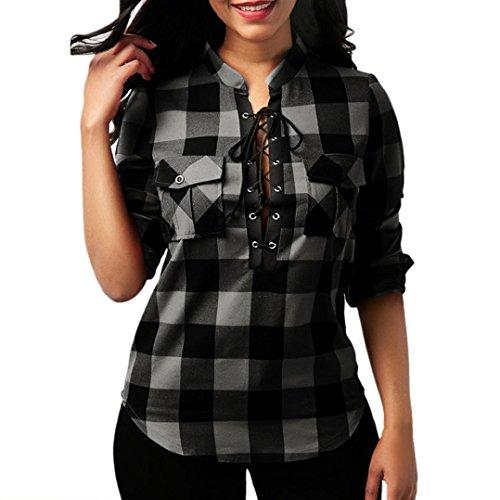 A abbigliamento Bandage toamen donne Camicia maniche a Incrociato Quadri per maglietta a grigio cou O Camicetta lunghe quadretti XPHPnq