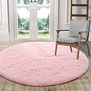 LOCHAS Luxury Round Fluffy Area Rugs for Bedroom Kids Nursery Rug Super Soft Living Room Home Shaggy Carpet 4-Feet, Pink