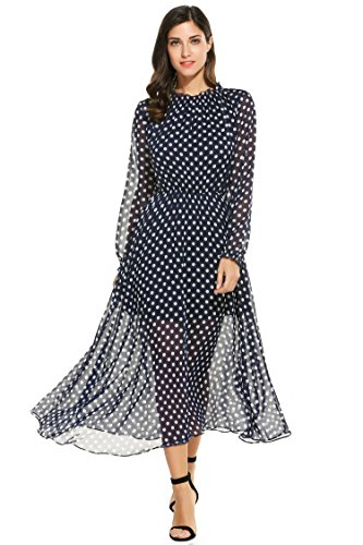 Meaneor Women Chiffon Long Sleeve Polka Dot Maxi dress For Party