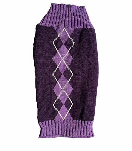 Argyle Knit Pet Sweaters Clothes for Small Dogs, Classic Purple Small (S) Size