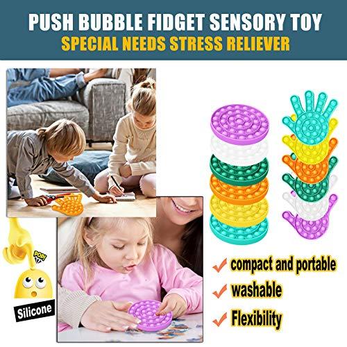 Clacce 2X Bubble Sensorisches Stressabbau Spielzeug, Stress Sensory Squeeze Spielzeug, Silikon Push Bubble Zappeln, Antiangst Tools für Kinder Erwachsenen