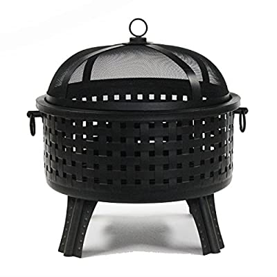 ALEKO FP002 Steel Cross Weave Backyard Patio Fire Pit Bowl with Log Grate and Poker 25 Inches Black - ALEKO's cross weave fire pit is a classic and attractive accent to your patio, deck, or backyard Black cross weave design looks great while also providing proper oxygen flow for the fire Body is weather resistant design and durable; it's perfect for extended outdoor use - patio, fire-pits-outdoor-fireplaces, outdoor-decor - 51V5uuFoxoL. SS400  -
