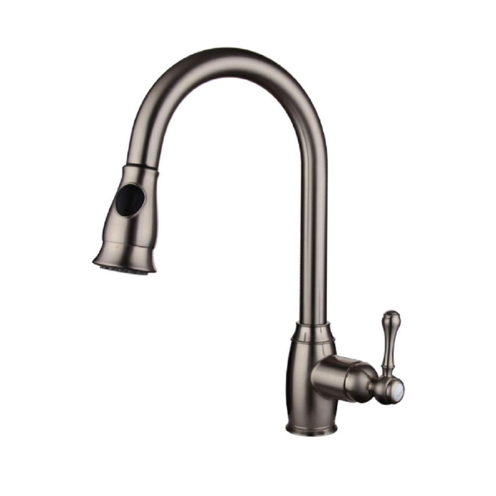 Kitchen Faucet  Low Pressure Extendable Kitchen Faucet 360 Rotatable Faucet With Dual Rinsing Spray And High Round Arch Outlet,  Kitchen Sink Faucets Basin Mixer Faucet