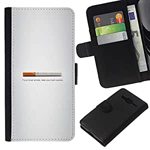 LECELL--Cuero de la tarjeta la carpeta del tirón Smartphone Slots Protección Holder For Samsung Galaxy Core Prime -- Butt fumadores - Gracioso --