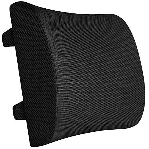100% Pure Memory Foam Back Cushion - Orthopedic Design for Lower Back Pain Relief - Lumbar Support Pillow, 2 Adjustable Straps for Car or Office/Computer Chair ()
