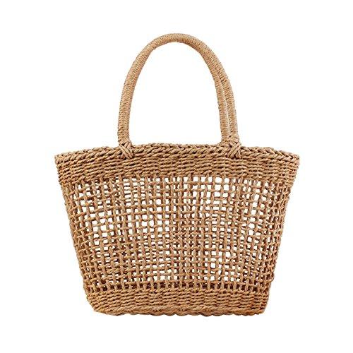 Sac à main en bambou,yunt fourre-tout sac fourre-tout tissé à la main sac de plage de paille Sac demi-lune pour les femmes, sac à bandoulière de sac à bandoulière tressé de voyage Camel