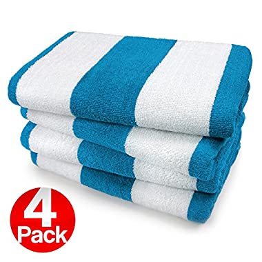 KAUFMAN- TURQUOISE CABANA STRIPE, LARGE BEACH AND POOL TOWEL SET OF 4. 100% COTTON . MAXIMUM ABSORBENCY AND SOFTNESS