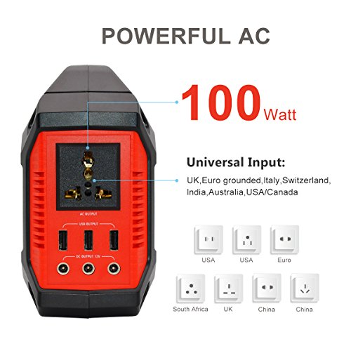 TalentCell-12V-100-Watts155Wh-Lithium-ion-Battery-Portable-Solar-Generator-Power-Station-with-Inverter-Outputs-AC-110V-3USB-5V21A-3DC-12V15A-Charged-by-SolarACCar