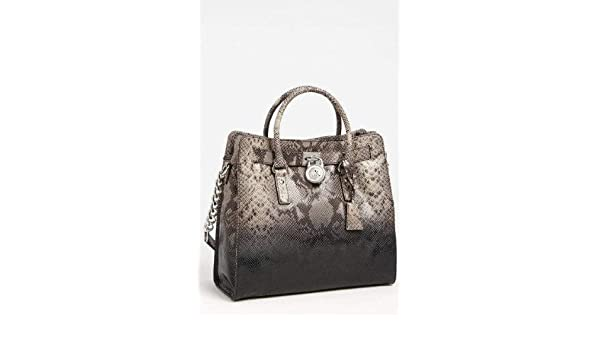 406ca45bb25e Amazon.com: Michael Kors Dark Sand Grey Python Snake Embossed Leather  Hamilton NS Large Satchel Tote: Shoes