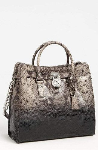 449083a1c02 Amazon.com  Michael Kors Dark Sand Grey Python Snake Embossed Leather  Hamilton NS Large Satchel Tote  Shoes