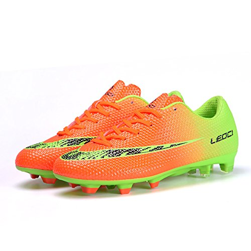 LEOCI Mens Football Shoes Boots Cleats High Ankle Soccer Boys Football Shoes Indoor Futsal Training Soccer Non-Slip (9, Orange1)