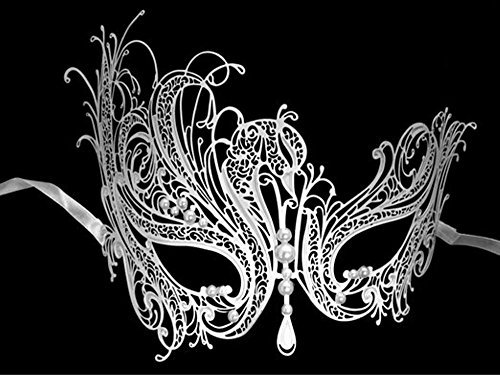 Womens Filigree Metal Swan Masquerade Mask - White