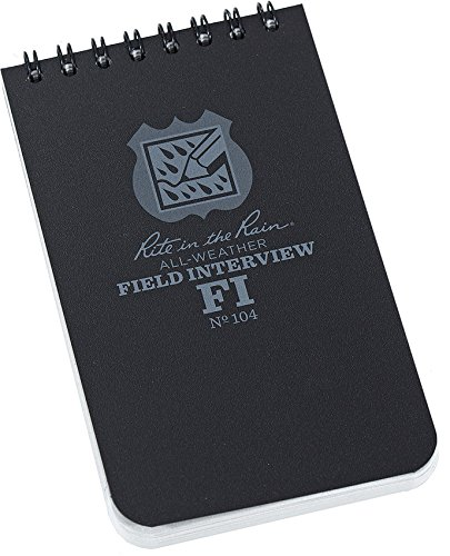 """Rite in the Rain All-Weather Field Interview Notebook, 3"""" x 5"""", Black Cover, Field Interview Form Pages (No. 104)"""