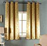 Cheap Smibra Luxury 3D embossing Room Darkening Thermal Insulated Blackout Grommet Window Curtain for Living Room,Gold Yellow,42×52-inch,1 Panel