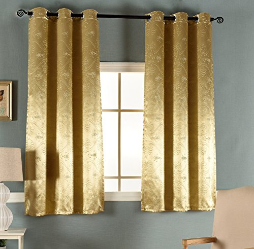 Smibra Luxury 3D embossing Room Darkening Thermal Insulated Blackout Grommet Window Curtain for Living Room,Gold Yellow,42x52-inch,1 Panel