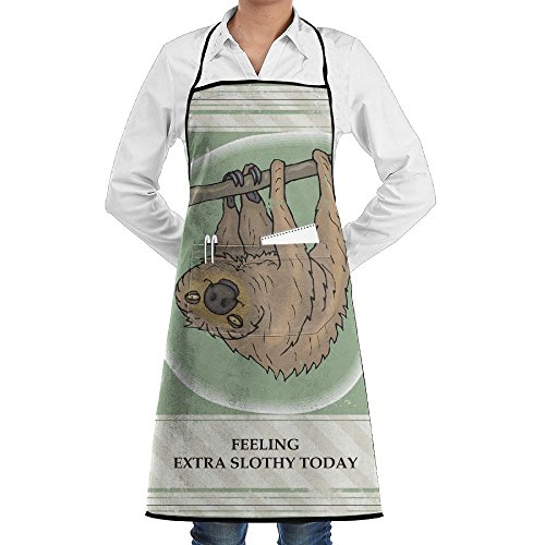 RZ GMSC Novelty Sloth Clip Art Free Clip Art Kitchen Chef Apron With Big Pockets - Chef Apron For Cooking,Baking,Crafting,Gardening And -