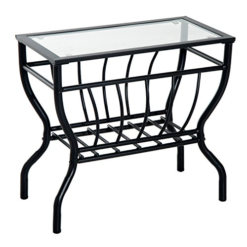 HomCom Metal Magazine Rack End Table w/ Glass Top (Transparent) (Iron Glass Side Table)