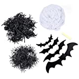 TOYMYTOY TOYMYTOY Halloween White Spider Web Cobweb Decoration Set for Haunted House (100g Cotton Web + 4pcs Large Spiders + 100pcs Small Spiders + 40pcs Medium Spiders + 20pcs Bats)