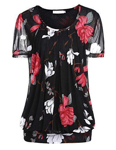 BaiShengGT Women's Short Sleeve Pleated Front Mesh Blouse Medium Black Floral