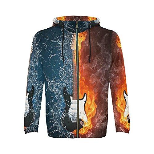 (INTERESTPRINT Custom Electric Guitar in Fire and Water Blue Red Men's Full-Zip Zipper Hoodies Sweatshirt S)