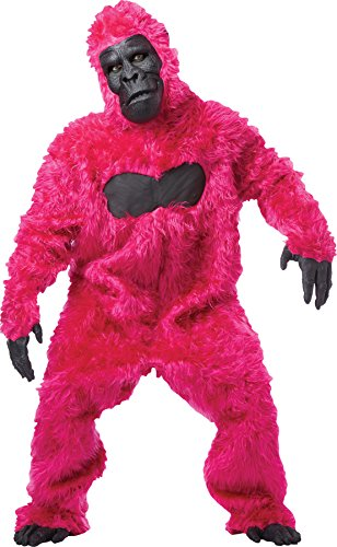 [UHC Gorilla Jumpsuit Furry Animal Jungle Party Adult Halloween Costume, OS] (Pink Gorilla Suit)