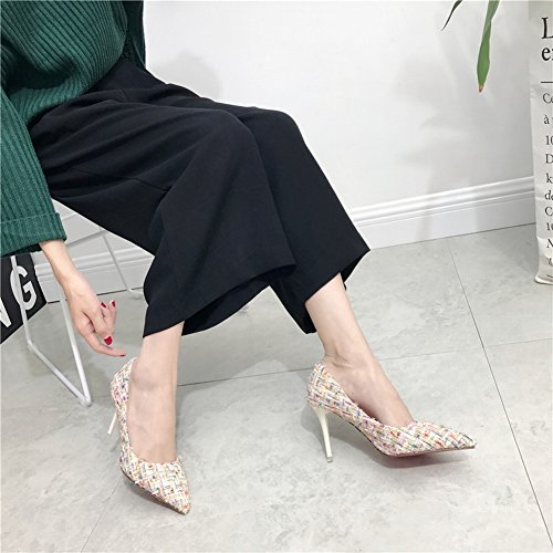 Fashion Hit Color Wool Hair Tips Fine with High Shoes Shoes , white , EUR37