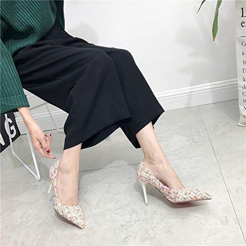Las Puntas de Pelo de Lana de Color de Moda Golpean Bien con Zapatos de Zapatos Altos , blanco , EUR34
