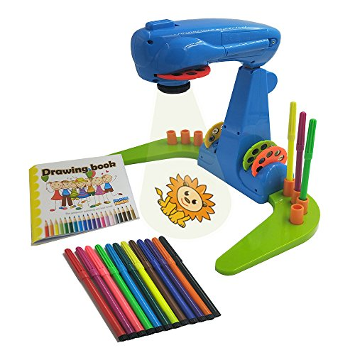 xcivi Projector Learning Painting for Kids-Educational Learning Toy Trace and Draw Projector with 32 Patterns&12 Colour Water Pens and 1 Drawing Book (Blue-Green)