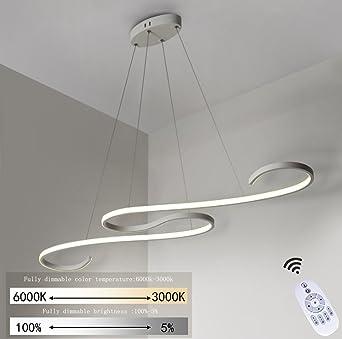 LED Pendelleuchte Esstisch 46W Dimmbar Hängeleuchte weiß Pendellampe ...