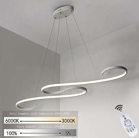 LED Pendelleuchte Esstisch 46W Dimmbar Hängeleuchte Weiß Pendellampe Modern  Hängelampe Deckenleuchte Designlampe Höhenverstellbar Leuchte Für Büro