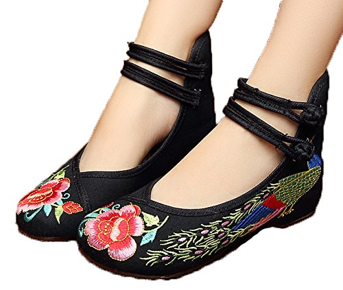 Avacostume Femmes Broderie Paon Chaussures De Danse Chinoise Chaussure Noir
