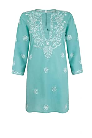 c4465b3a1ec5 Ladies Deep Turquoise Beach Kaftan Cover Up with White Hand Embroidery   Amazon.co.uk  Clothing