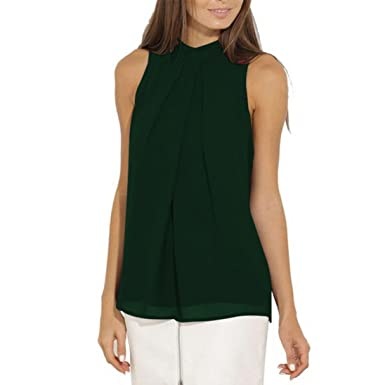5f81d22e9db742 TIFIY Womens Lose ärmellose Chiffon Bluse Weste Damen Sommer Cool Freizeit T -Shirt Trägershirt (