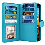 NEXTKIN LG G Stylo LS770 Case, Leather Dual Wallet Folio TPU Cover, 2 Large Pockets Double flap, Multi Card Slots Snap Button Strap For LG G Stylo LS770/G Vista 2 H740 2nd 2015 - New Teal